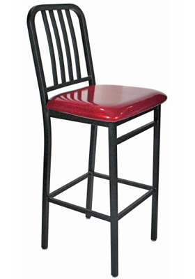 Deco Steel Bar Stool with Upholstered Seat Side View