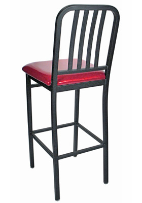 Deco Steel Bar Stool with Upholstered Seat Rear View