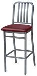 Deco Steel Bar Stool with Upholstered Seat