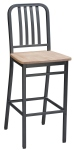 Deco Steel Bar Stool with Wood Seat