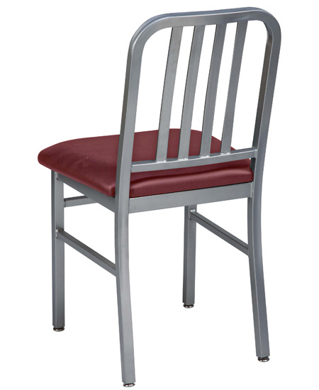 Deco Steel Restaurant Chair with Upholstered Seat Rear View