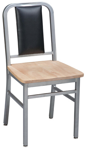 Deco Steel Restaurant Chairs With Wood Seat