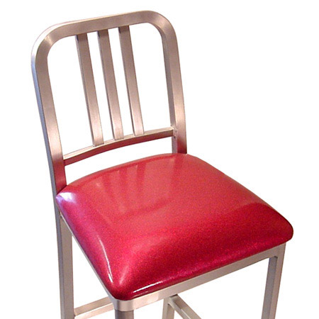 Upholstered Aluminum Bar Stool Seat Detail