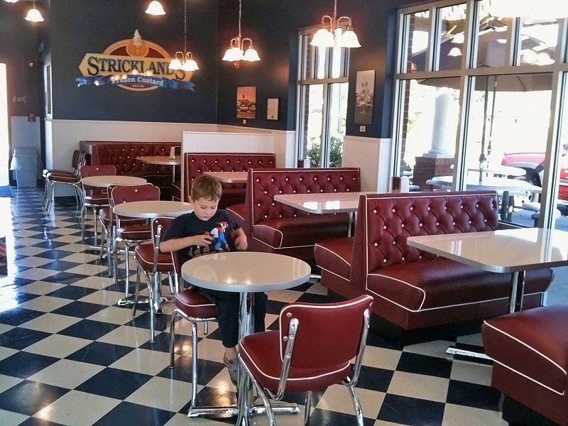 Diamond Tufted Chrome Diner Chair Restaurant Installation