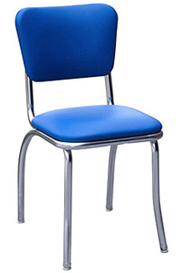 QUICKSHIP Standard Chrome Diner Chair Blue Vinyl