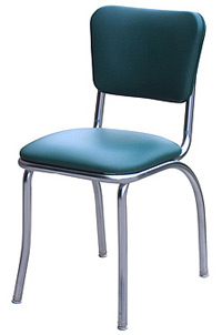 QUICKSHIP Standard Chrome Diner Chair Green Vinyl