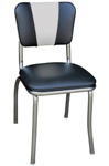 QUICKSHIP V Back Diner Chair Black and White Vinyl