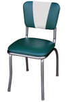 QUICKSHIP V Back Diner Chair Green and White Vinyl