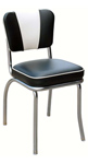 QUICKSHIP Deluxe V Back Diner Chair Black and White Vinyl