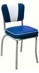QUICKSHIP Deluxe V Back Diner Chair Blue and White Vinyl