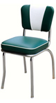 QUICKSHIP Deluxe V Back Diner Chair Green and White Vinyl