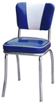 QUICKSHIP Deluxe V Back Diner Chair Zodiac Blue and Silver Glitter Vinyl