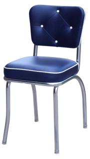 ... QUICKSHIP Diamond Tufted Chrome Diner Chair Blue And White Vinyl ...