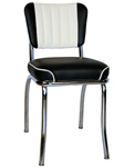 QUICKSHIP Two Tone Channel Back Diner Chair Black