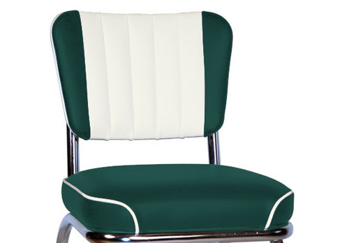 QUICKSHIP Chrome Diner Chair Two Tone Deluxe Channel Back Black and White Vinyls Detail