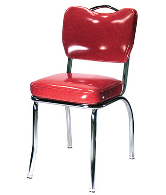 ... Plain Handle Back Chrome Diner Chair 2 Inch Thick Seat, Front View