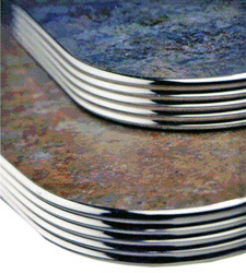 Polished Finish Grooved Aluminum Table Edge Table Top