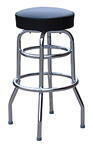 QUICKSHIP Double Ring Budget Chrome Bar Stool Black Vinyl