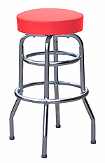 QUICKSHIP Double Ring Budget Chrome Bar Stool Red Vinyl