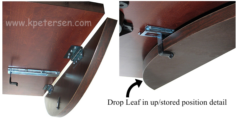 Dropleaf Table Hardware with Black Hinges Leaf Positions