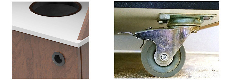Top Drop Waste Receptacle Standard Door Pull and Optional Caster Details