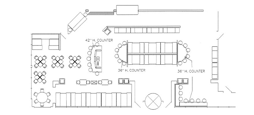 restaurant dining room layout | Plan View Example Drawings Facilitate Customer Purchasing