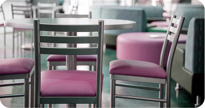 Ferro Steel Restaurant Chair with Upholstered Seat Installation
