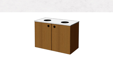 Flat Top Drop Double Waste Receptacle Cabinet