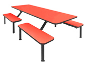 Flat bench industrial cafeteria unit for 8 people