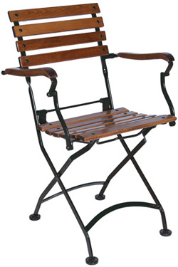 19th Century Reproduction Outdoor French Bistro Folding Arm Chair ...