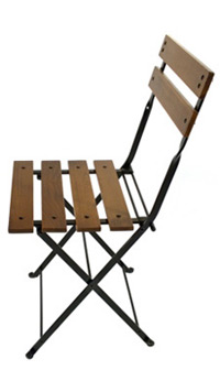 ... Reproduction French Bistro Cafe Folding Side Chair Chestnut Slats Side  View 2