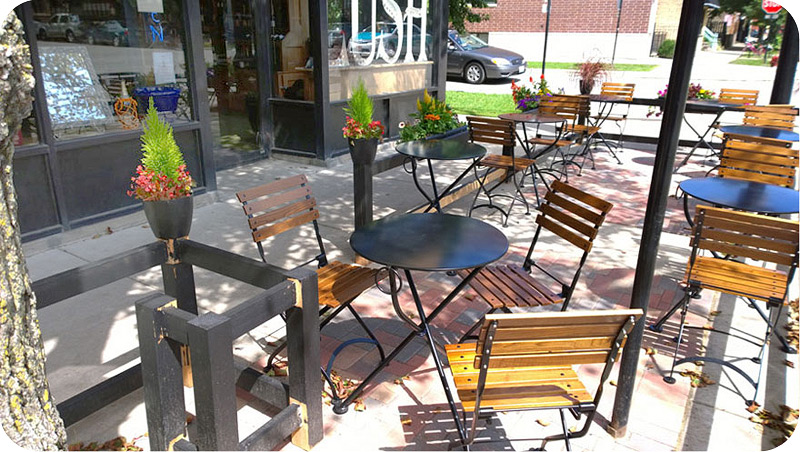 19th Century Reproduction French Bistro Outdoor Folding Chairs Installation  Chicago