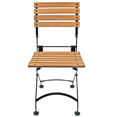 Teak Folding Bistro Chair Front View