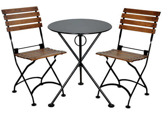 ... French Bistro Cafe Folding Side Chairs And Round Steel Outdoor Table