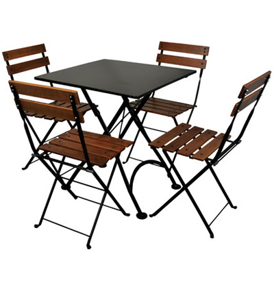 rench Bistro 32 X 32 Inch Square Steel Outdoor Folding Table Black with Chairs