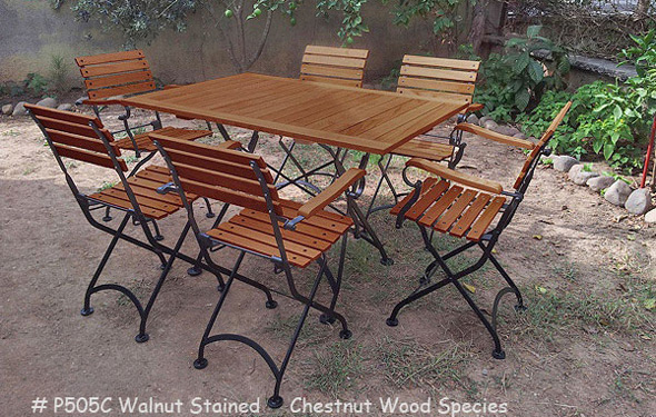 ... 19th Century Reproduction French Garden Cafe Folding Arm Chairs, Walnut  Stained Chestnut ...