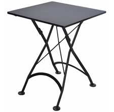 French Bistro Small Black Square Steel Outdoor Folding Table