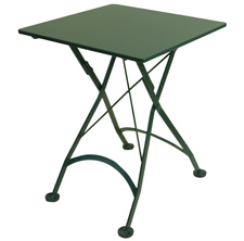 French Bistro Small Dark Green Square Steel Outdoor Folding Table