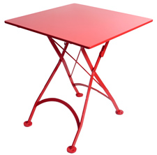 French Bistro Small Red Square Steel Outdoor Folding Table