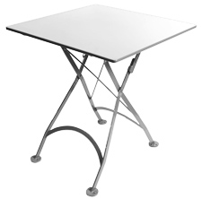 ... French Bistro Small White Square Steel Outdoor Folding Table ...