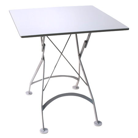 French Bistro Small 24 X 24 Inch Square Steel Outdoor Folding Table White  ...