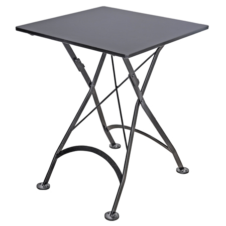 ... White French Bistro Small 24 X 24 Inch Square Steel Outdoor Folding  Table Black