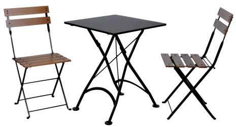 French Bistro Small Square Steel Outdoor Folding Table with Chairs