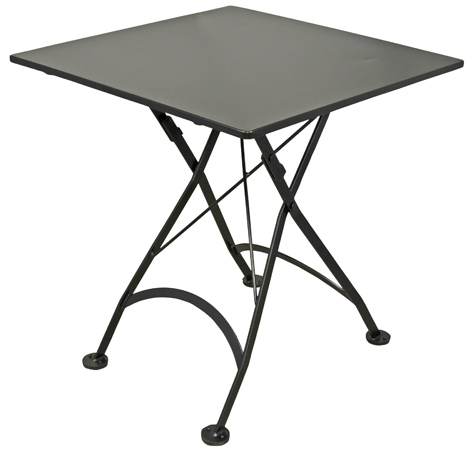 French Bistro 32 X 32 Inch Square Steel Outdoor Folding Table Black