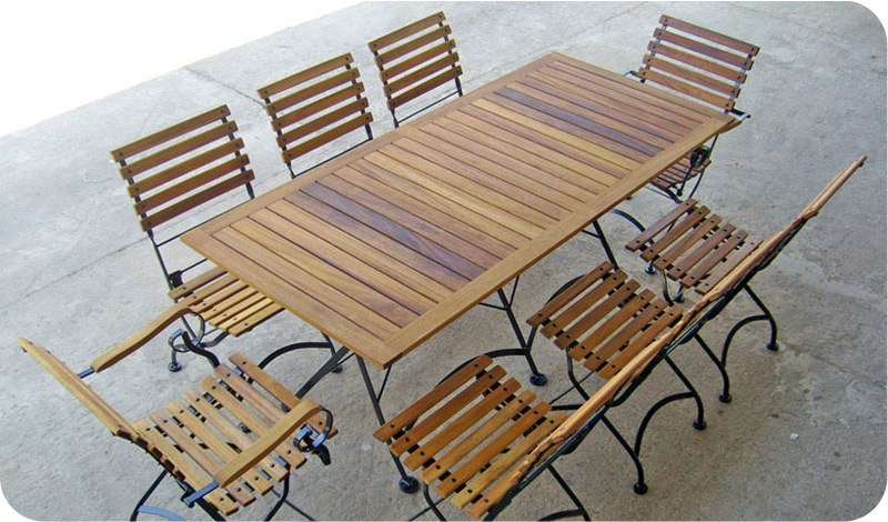 Teak Folding Bistro Armchairs With Large Rectangular Teak Table Installation Part 86