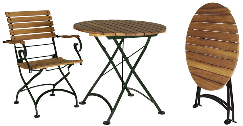 1890 S Reproduction French Cafe Teak Folding Table Round
