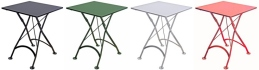 French Bistro Small Square Steel Outdoor Folding Tables In Colors