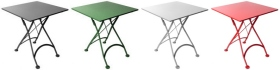 French Bistro Square Steel Outdoor Folding Tables In Colors