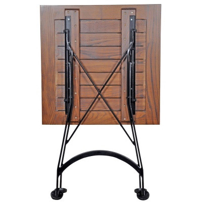 french bistro square chestnut folding table folding leg detail