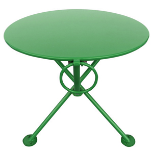 20 Inch Round Steel Outdoor Tripod Folding Coffee Table Green